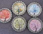 5 x Tree of Life Flattened Silver Bottle Caps - Great for Jewellery, Cards, Keyrings