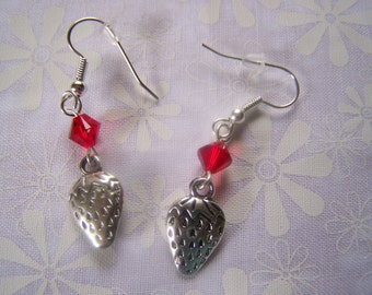 Strawberry Charm Earrings with Swarovski Crystals Hypoallergenic