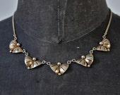 Necklace Art Deco Czech Sterling Silver Gold Vermeil Geometric Signed Colier