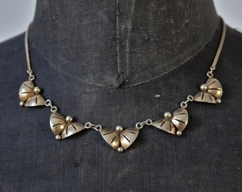 Czech Necklace Art Deco Sterling Silver Gold Vermeil Geometric Signed Colier