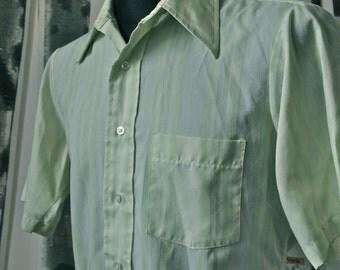 Men's 60's Celery Green Strip Arrow Kent Collection Mad Men Burma Shirt size M