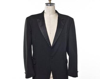 Black Tuxedo Mr. Burch Jacket and Pants with Satin Trim Peak Lapel Size 44