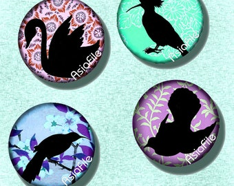 Printable Digital Bird Silhouettes 1 Inch Circle Digital  Asian Japanese for Bottlecaps Jewelry Image Transfer Pendants Scrapbooking CS 112