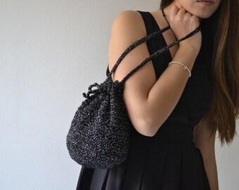 Elegant pouch, black bag, opera purse, party bag
