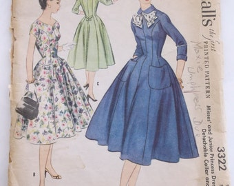 Mid Century McCalls Pattern 3322, Misses' Size 14 Princess Dress with Detachable Collar and Cuffs, Bust 32