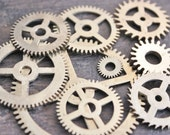 Large Clock/Watch Gears - Steampunk Supply - Assemblage Art Supply - Set of 9