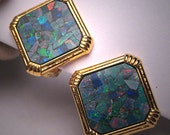 Vintage Australian Opal Earrings 18K Gold Estate Jewels