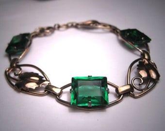 Antique Emerald French Paste Bracelet Art Deco 1920