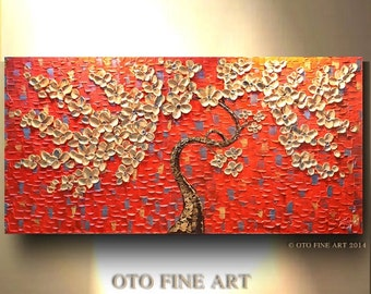 Made to Order Many Large Sizes Painting Red Gold Silver Metallic Abstract Art tree flower Large Canvas Contemporary by OTO