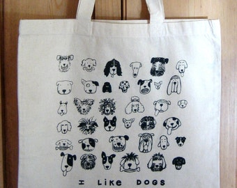 I LIKE DOGS Cotton Natural Tote Bag