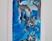 "Cats for Molly - greeting card, handmade - 3,5"" x 6,5""/ 8,5cm x 16,5 cm"