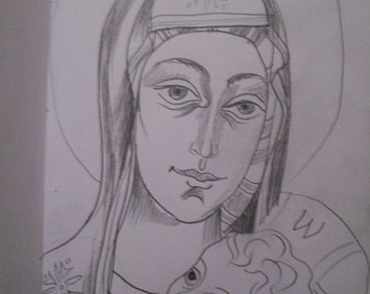"""the holy mother with Jesus child - original 6""""x4"""" pencil on paper drawing"""