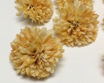 Silk Flowers - 3 Banana Yellow Ball Mums - 2.75 Inches - Artificial Flowers - Chrysanthemums