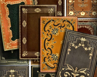 Victorian Book Covers No 2 ATC Printable Download 2.5 x 3.5 Digital Collage Steampunk Backgrounds ACEO ATC Cards Scrapbooking Ephemera  296