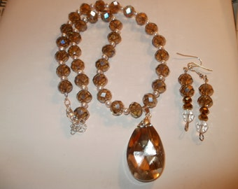 brown crystal and pearl necklace with FREE earrings!