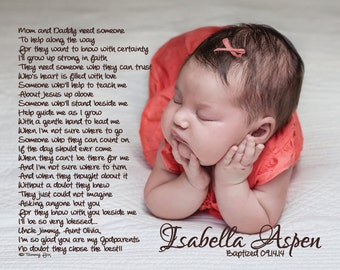 Baptism Gift For Godparents/Godmother/Godfather Thank You Poem Personalized Poetry Print
