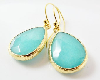 Aqua Teardrop Gemstone Earrings - Jade- 22k Matte Gold Plated Bezel - Vermeil Earwire