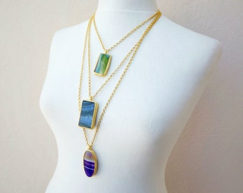 Teal Lime Green Agate Gemstone Necklace - Choose From 18'' 24'' or 30'' inch Chain