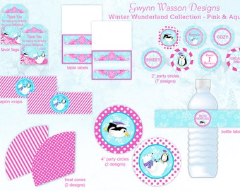 Winter ONEderland Wonderland  Party Decorations - HUGE SET - Pink and Aqua - Gwynn Wasson Designs PRINTABLES