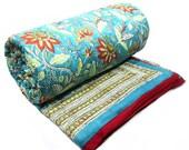 Queen Quilt bedding Indian quilt handmade Bossanova Green