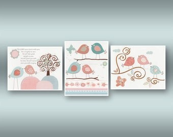 Baby Girl Nursery Decor - Wall Art For Baby Girl Nursery Featuring Love Birds. Rosa by Carousel Designs. Pink, Blue, Gray. 3 Print, Anabel