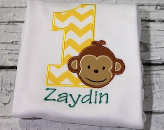 Boy's Monkey Birthday Shirt, Available in Ages 1-9, Choose your color scheme