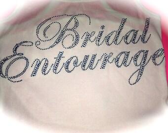 Bridal Entourage Aqua Blue Rhinestone Tank Top - Ladies Bachelorette Party Shirts with colored rhinestones- hot pink, aqua, gold , clear