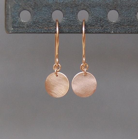 Solid 14K Rose Gold 9.5mm Elegant Disc Earrings