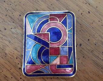 Vintage Rectangular Geometric Pin or Brooch Gold Tone Metal Enamel