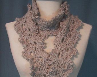 Lacy Scarf - Graymist - Fashion Accessory - Hand Crocheted - Soft Acrylic Yarn - Handmade - Spring Fashions