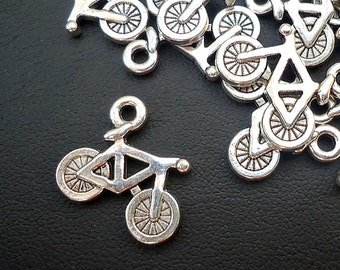 """Silver Bicycle Charms -  5/8"""" Wide"""