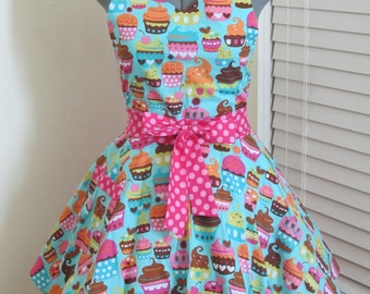 Blue Cupcakes Apron - Full of Twirl Flounce