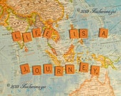 """Scrabble Tiles with the quote """"Life is a Journey"""" placed on a Colorful World Map Wall Art Home Decor Digital Download Fine Art Photography"""
