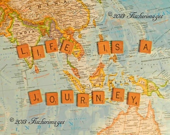 "Scrabble Tiles with the quote ""Life is a Journey"" placed on a Colorful World Map Wall Art Home Decor Digital Download Fine Art Photography"