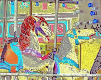 Colorful Carrousel Horses Wall Art Home Decor Fine Art Photography