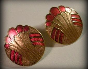 Art Deco Revival Enamel Earrings
