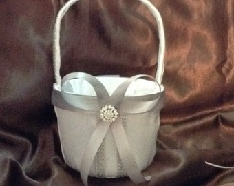 wedding flower girl basket ivory or white color custom made
