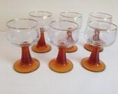 set of 6 vintage amber ridged stem etched grapevine pattern gold rim wine glasses