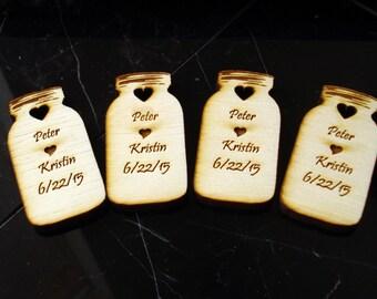 60 Mason Jar Wedding favors Personalized Wood Cut out