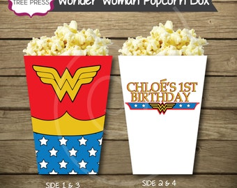 Wonder Woman Inspired Theme Popcorn or Snack Box - Printable