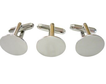 10 sets (20 pcs) of Blank Cufflink finding with 15mm gluepad & Free 0.3 fl. oz. E-6000 Glue (E-6000 for U.S. orders Only)