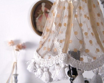 Shabby chic lamp,Fabric lace Lampshade, Home decor , Lace Table lamp in gold tull, Retro Living room lights, Country Freanch  decor