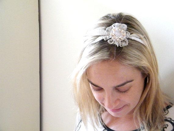 Bridal  Lace Headband, Shabby chic Bridal headband, Boho headband, Bridesmaid headpiece, Wedding hair Accessory, flower headpiece.