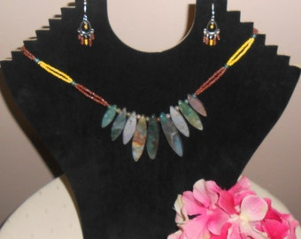Indian drop agate necklace