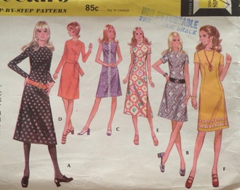 70s McCall's 2717 Basic Dress with Slim or A Line Skirt  Size 14 Bust 36
