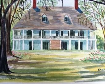 Parlange Plantation - 11 X 14 Signed Art Print Antebellum home by Louisiana Artist Kristi Jones