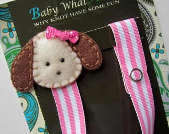 Puppy Dog Pacifier Clip, Girls Pacifier Clip, Animal Pacifier Clip, pcdog08