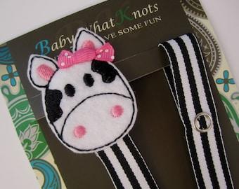 Girl Pacifier Clip, Cow Pacifier Clip, Farm Animal Pacifier Clip, pccow01