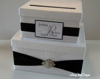 Card Box, Wedding Card Box, Money Holder, Gift Card Holder Custom Made Black and White