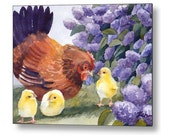 Hen and Chicks Chicken Art Print on Wood Watercolor by Janet Zeh